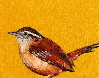 Wren Carolina wren bird art small acrylic painting on canvas panel golden yellow bird paintings bird art