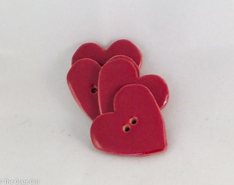 Ceramic Buttons - Red Heart Buttons