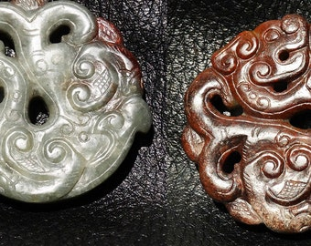 Jade Dragon Pendant Two Color Reversible Nephrite Pi Antique