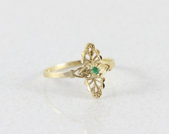 10k Solid Yellow Gold Natural Green Emerald Filigree Ring Size 8