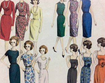 1960's Sheath Dress with Four Bodice Variations - Mad Men Style - Vintage Vogue Pattern 3013 ** Part.Cut/Size 14