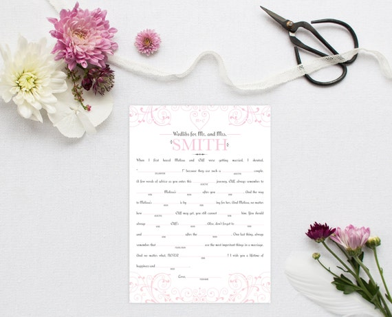 Wedding Mad Libs - Shower Libs - Funny Wedding Guest Book Alternative - Printable Wedding Reception Game