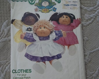 "Cabbage Patch VTG 1984 Cabbage Patch Kids Butterick  pattern 6509 Dress Panties Pinafore and Bib Fits 16"" (40.5 cm)"