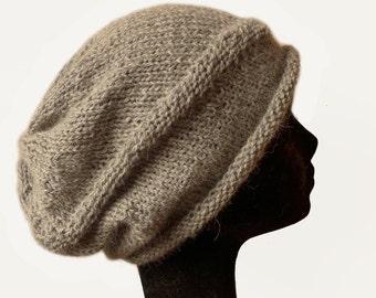 Baby Alpaca Oversized Beanie Hat, Slouchy Beanie Hat, Womens Hat