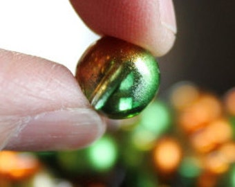 20 glass beads, 10 mm, round and smooth, frosted baking painted, hole 1 mm, green and deep orange