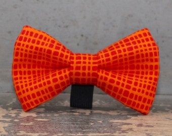 Orange Dog Bow Tie in Plaid - Dog Bow Tie Only, Collar NOT Included
