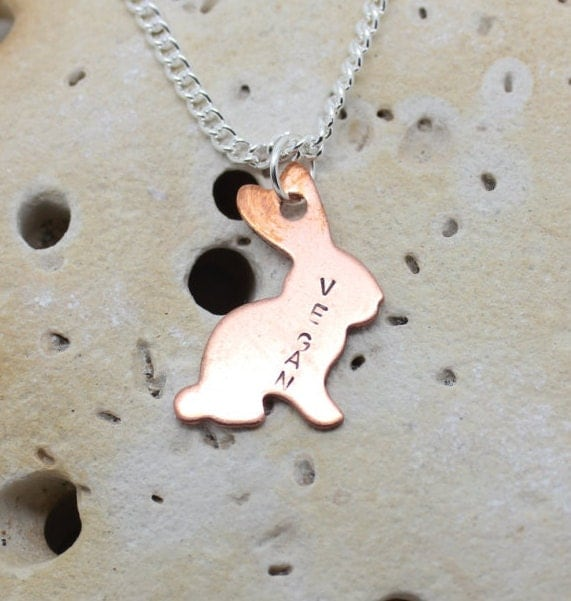 "Vegan bunny rabbit necklace. Copper rabbit with handstamped ""vegan"" on 18""  chain."