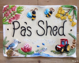 Garden Shed Sign - Personalised Ceramic Plaque