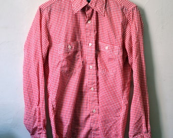 Vintage LEVIS Red Gingham Work Shirt Size M Medium Slim Fit S Small