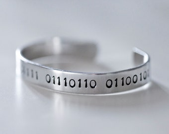 "Binary Cuff Bracelet - ""Love"" in Binary - Metal Stamped Bracelet - Math Jewelry - Binary Jewelry - Binary Bracelet - Binary Gift"