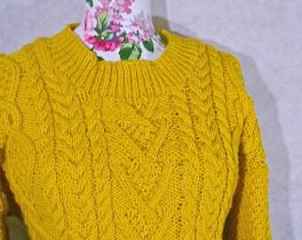 Hand knit Aran Cabled Jumper (custom)