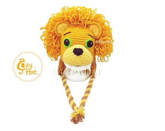 READY TO SHIP! Lucious the Lion Hat. Hand Crocheted by Cozy Hat Sizes 6 - 12 months Baby