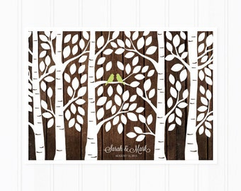 Wedding Guest Book Tree, Wood Guest Book Alternative, Birch Forest for Rustic Wedding, Unique Guest Book, 125 Guests