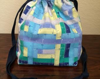 Measuring Tape Lined Drawstring Bag, knitting bag, project bag