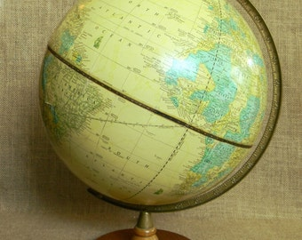 Elegant Classic Parchment Style Butter Cream Yellow Vintage Cram's Imperial Globe - Raised Relief Mountains, Hardwood Base - Excellent Cond.