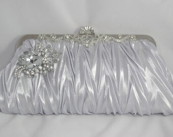 Silver Evening Clutch, Silver Bridal Handbag, Satin Silver Crystal Bridesmaid Clutch, Silver Wedding Accessories, Swarovski Crystal Clutch