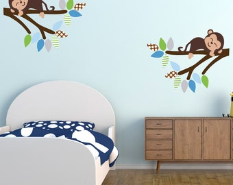 Cheeky Monkeys On Branches Wall Stickers, Monkey Wall Decals, Jungle Wall Art, Safari Wall Transfer - Full Colour Wall Stickers - PPA012
