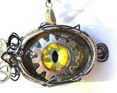 Steampunk Necklace Dragon Eye Green Yellow Cat steampunk jewelry Gift Ideas industrial urban jewelry