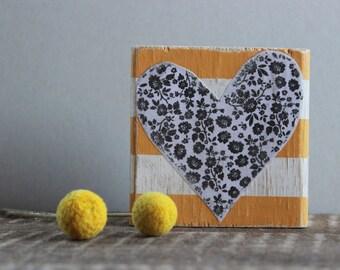 Wood Block Heart