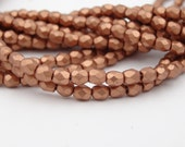 4mm Fire Polish  Silky Rose Gold  50 Pieces