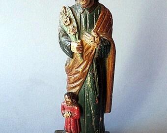 Antique Wood statue.Saint Joseph of Nazareth.