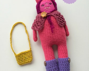 ON SALE 35% OFF Pink Cat Plush Toy Play Set - Crochet/Amigurumi Pink Cat Doll with Accessories - Romy Christmas Gift for Girls