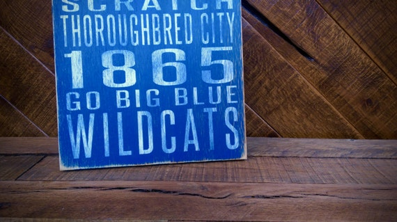University of Kentucky Wildcats Distressed Wood Sign-Great Father's Day Gift!