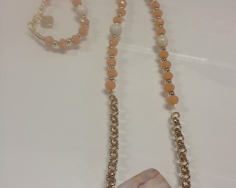 Long necklace with neutral beads