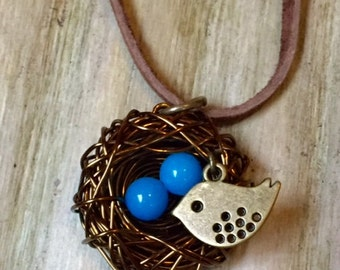 Mama Bird Nest Necklace with 2 eggs and bird charm