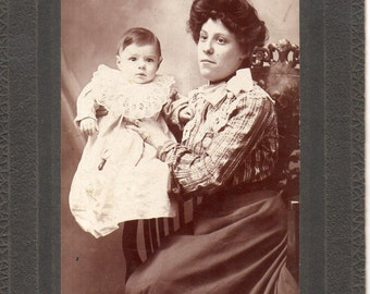 Antique Photo of Beautiful Young Mother and Baby
