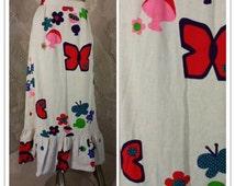 Vintage 70s Maxi Skirt   Novelty Mushroom Butterfly Print   Summit of Boston   Ruffled Hem