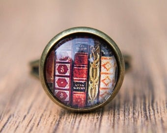 Book Ring, Book Lover, Glass Dome Ring, Statement Ring, Adjustable Ring, Readers.