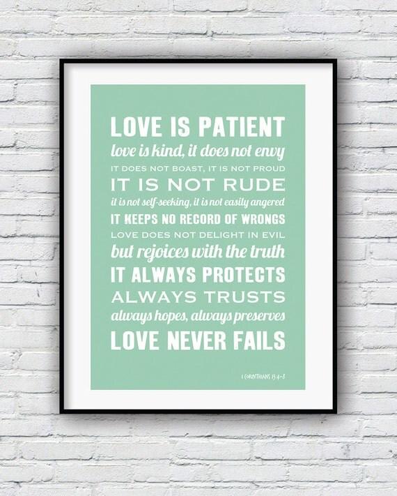 1 corinthians 13 bible verse wall art love is patient love. Black Bedroom Furniture Sets. Home Design Ideas