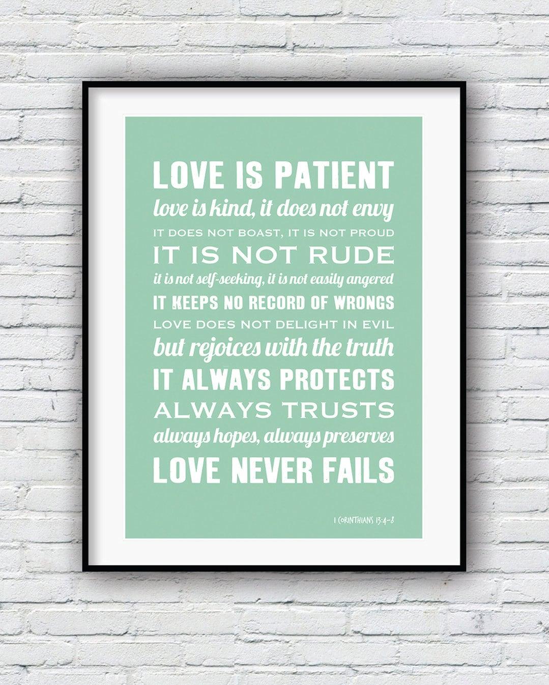 Love Is Patient Love Is Kind Quote: 1 Corinthians 13 Bible Verse Wall Art Love Is Patient Love