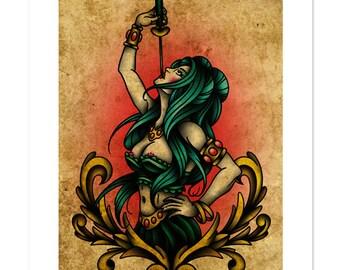 Sword Swallower, Pin-Up, Neo-Traditional Tattoo Flash, Freak Show, Art Print 12x16