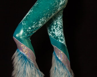 Turquoise Fur & Crushed Velvet Pants
