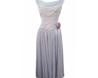 1950s blue and pink vintage prom dress