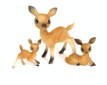Plastic Deer Family, Deer Figurines, Kitsch Animals, Made in Hong Kong, Retro Christmas Decorations, Kitschy Christmas Vintage Deer