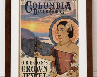The Magnificent Columbia River Gorge - Art Print - Oregon Region Hiking Goddess Art Nouveau Crown Point Travel Poster