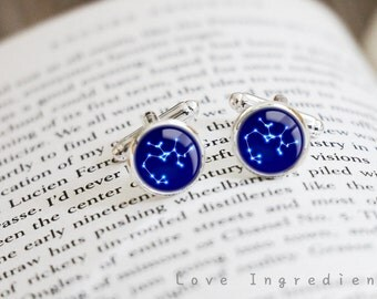 Zodiac Cufflinks, Horoscope Cufflinks, Constellation cufflinks, Horoscope accessory, groomsmen gift, gift for him, father gift, CL034