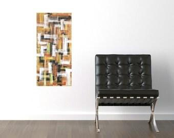 abstract original painting geometric mid century grid plaid orange black yellow rust acrylic