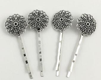 4 hair pin silver tone,22m x 60mm #Fin 069