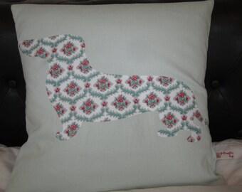 40cm Cushion with a Vintage Fabric Dachshund Motif