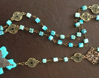 Gorgeous Antique Bronze, Jasmin and Turquoise Rosary