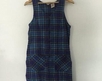 90's Blue Plaid Zip Up Dress