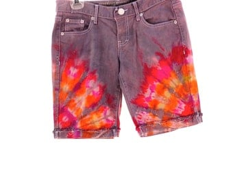 Upcycled Tie Dye Shorts, OOAK Repurposed Summer Shorts, Recycled Mossimo Bottoms, Trippy Festival Clothes