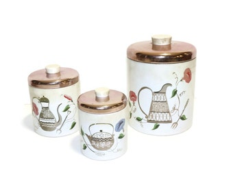 Vintage Ransburg Kitchen Canisters with Copper Lids and Morning Glories