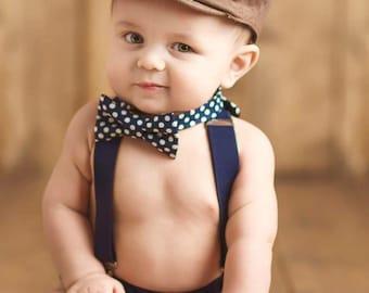 Navy boy bow tie suspenders set, navy polka dot suspenders set, baby boy suspenders, Navy wedding bow tie suspenders set