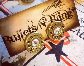 44 Mag STAR Stud Bullet Casing Earrings (brass)