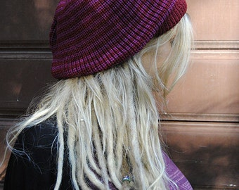 Slouchy beanie hat, thin striped in burgundy and purple M (MD-2002)
